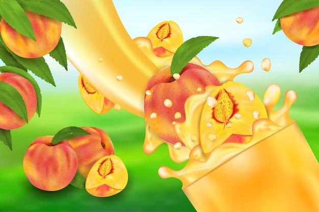 Écoulement de liquide avec des gouttes et des fruits sucrés