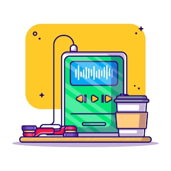 Écoute de podcast avec illustration de dessin animé de café