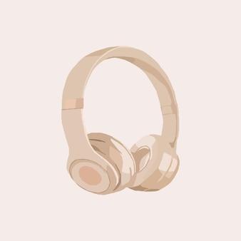 Écouteurs beiges. illustration de mode vectorielle