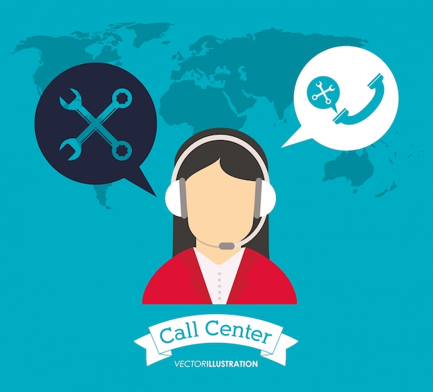 Les écouteurs d'opérateur appellent le support mondial du centre