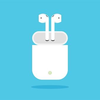Écouteurs sans fil avec étui de chargement dans un style cartoon tendance.