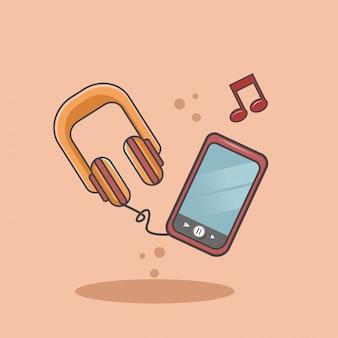 Écoutez de la musique sur un téléphone portable à l'aide d'un casque