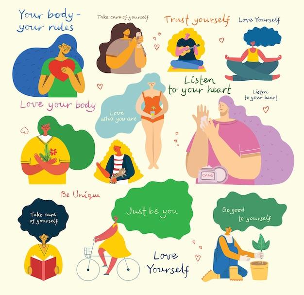 Écoutez votre cœur. aime toi toi-même. carte de concept de style de vie de vecteur avec texte, n'oubliez pas de vous aimer dans le style plat