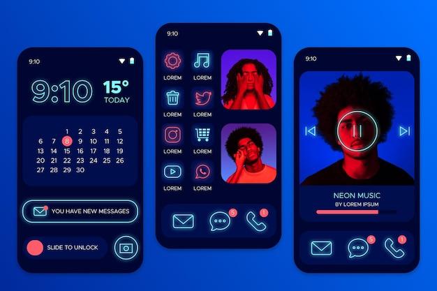 Écran d'accueil au néon avec avatar de personnes