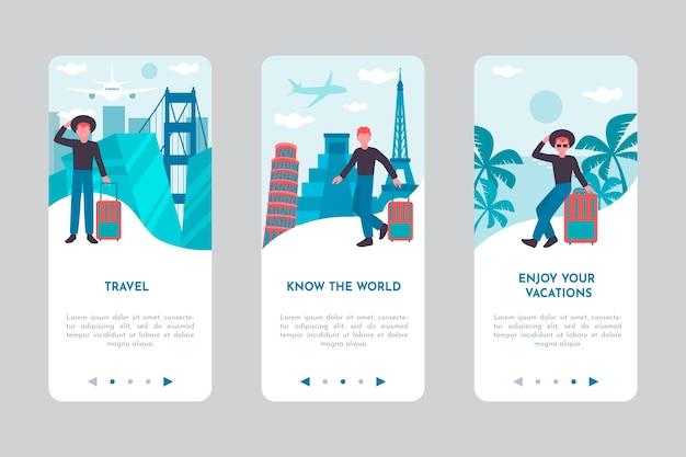 Écran de l'application d'intégration pour voyager
