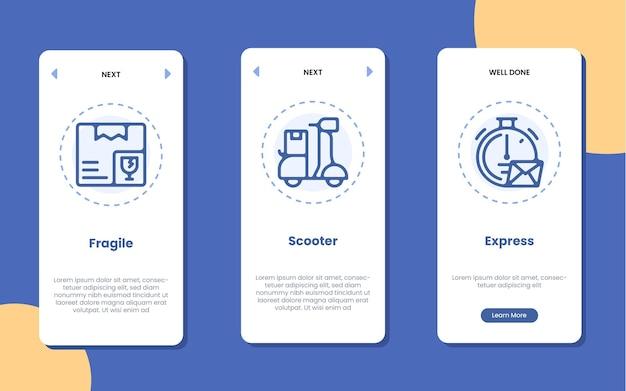Écran d'application d'intégration avec scooter fragile et illustration d'icône express