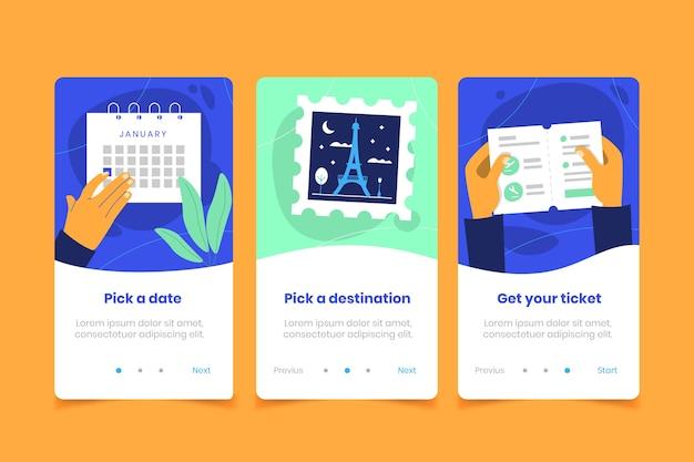 Écran d'application de téléphone mobile avec voyage