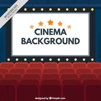 Écran de cinéma avec des ampoules et des fauteuils fond