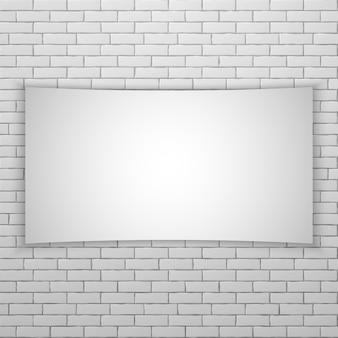 Écran de cinéma blanc ou une bannière sur la brique blanche wal