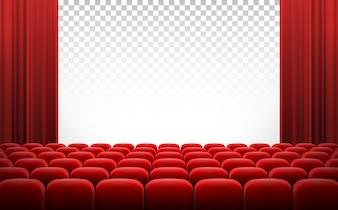 Écran de cinéma blanc avec des rideaux rouges et des chaises