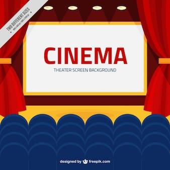 Écran de cinéma avec bleu fauteuils fond