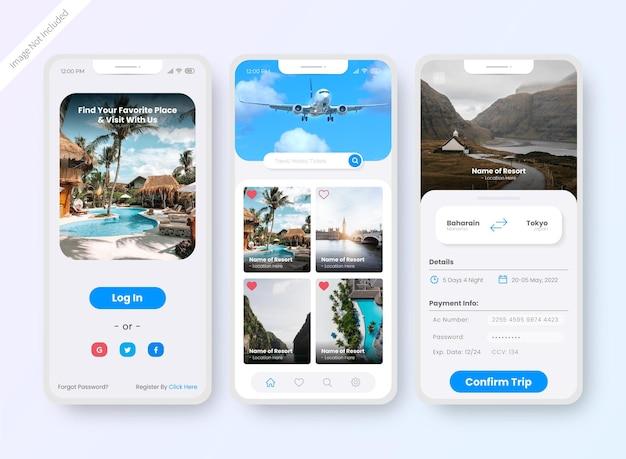 Écran de conception de l'interface utilisateur de l'application de réservation d'hôtel
