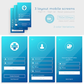 Écran de connexion de l'application mobile