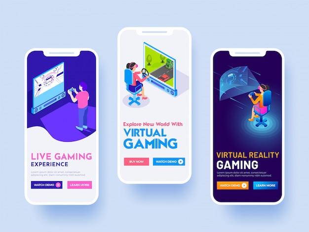 écran de démarrage pour le concept d'expérience de jeu virtuel.