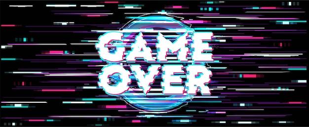 Écran de distorsion pour game over fond d'écran avec message d'erreur