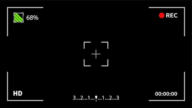 Écran du viseur du cadre de l'appareil photo de l'interface d'affichage numérique de l'enregistreur vidéo. enregistrer le modèle de viseur de caméra vidéo.