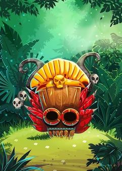Écran de la fenêtre de l'interface utilisateur du jeu mobile jungle shamans. illustration vectorielle