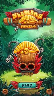 Écran de la fenêtre de jeu de l'interface utilisateur du jeu mobile jungle shamans. illustration vectorielle