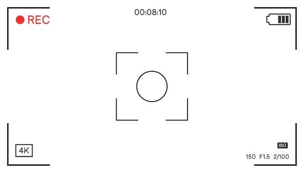 Ecran avec focus et options, interface appareil photo avec composition et viseur