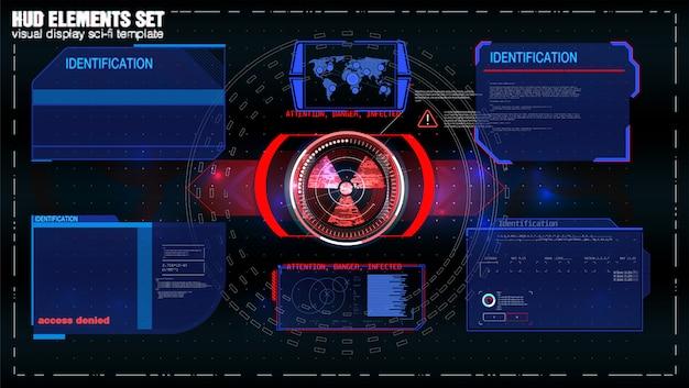 Écran hud de technologie futuriste. vue tactique sci-fi vr dislpay. hud ui. affichage tête haute vr futuriste. écran de la technologie de réalité virtuelle.