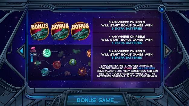 Écran d'information pour le jeu de machine à sous