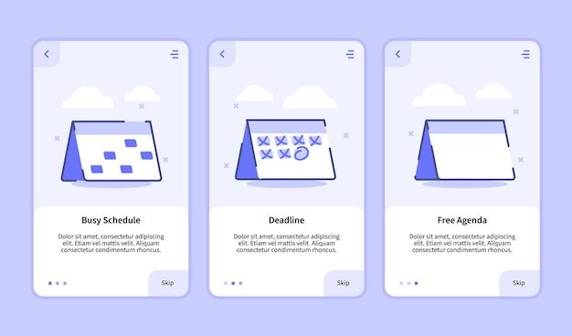 Écran d'intégration de l'agenda gratuit de l'échéance du calendrier chargé pour l'interface utilisateur de la page de bannière du modèle d'applications mobiles