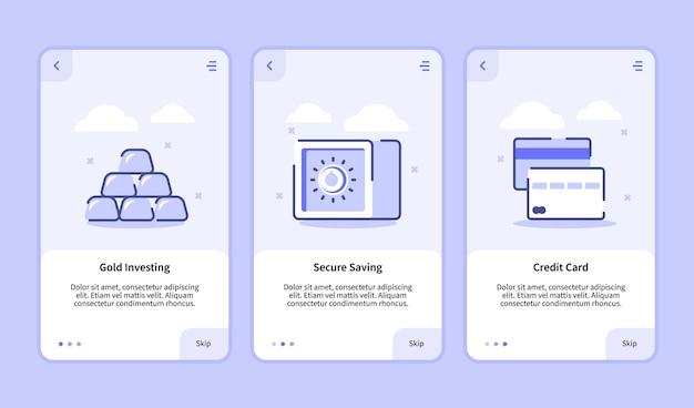 Écran d'intégration de carte de crédit d'épargne sécurisée d'investissement d'or pour l'interface utilisateur de page de bannière de modèle d'applications mobiles