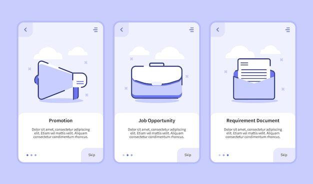 Écran d'intégration du document d'exigence d'opportunité d'emploi de promotion d'embauche pour l'interface utilisateur de page de bannière de modèle d'applications mobiles avec trois variantes de style de contour plat moderne