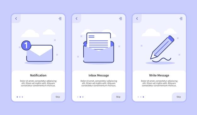 Ecran d'intégration de message d'écriture de message de boîte de réception de notification pour les applications mobiles