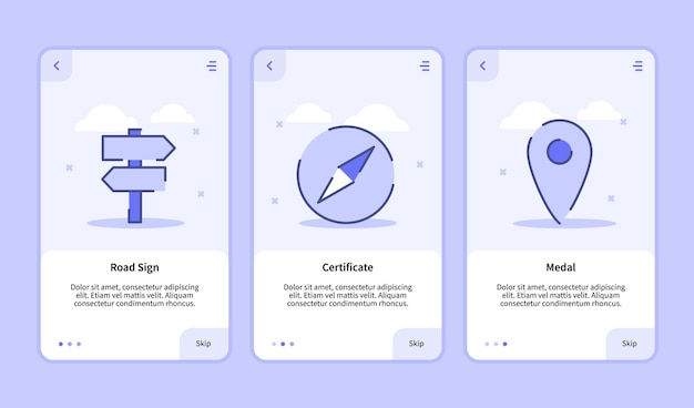 Écran d'intégration pour l'interface utilisateur de page de bannière de modèle d'applications mobiles