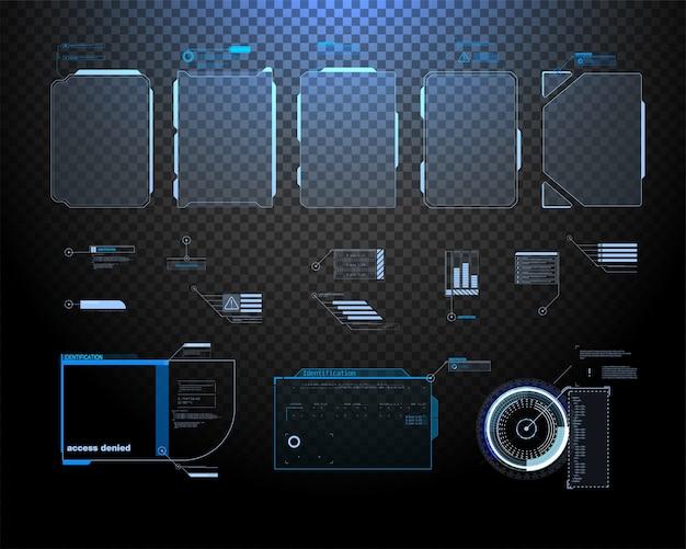 Écran d'interface futuriste hud. titres de légendes numériques. gui de l'interface utilisateur hud