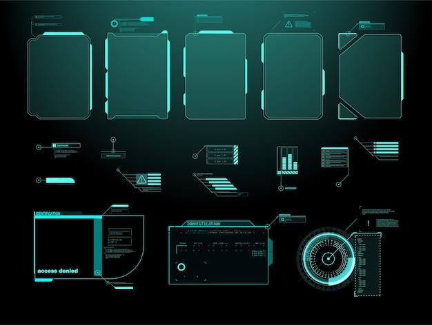 Écran d'interface futuriste hud. titres de légendes numériques.