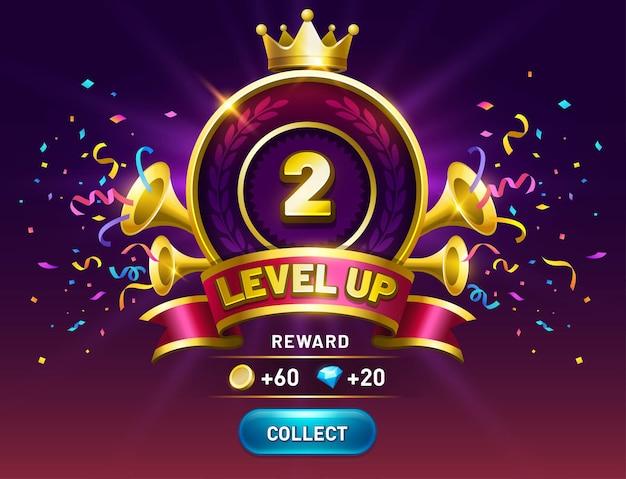 Écran de jeu de niveau supérieur obtenez une récompense avec le bouton de collecte