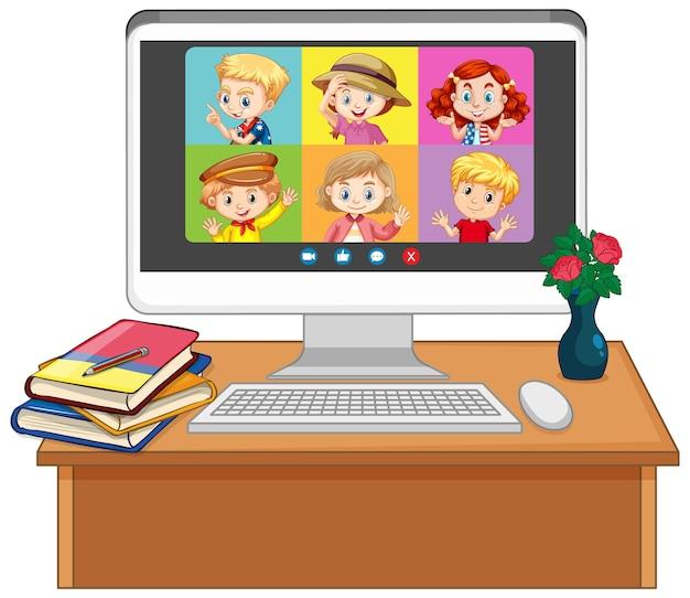Écran en ligne de chat vidéo étudiant sur écran d'ordinateur sur fond blanc