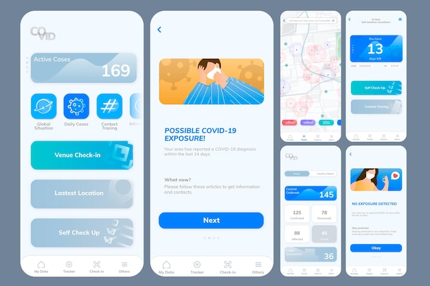 Écran mobile de modèle d'application de suivi covid-19