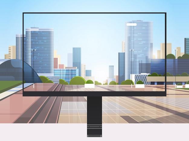 Écran de moniteur transparent mur de paysage urbain concept de gadgets et d'appareils réalistes