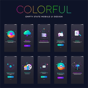 Écran noir de l'interface utilisateur mobile coloré de l'état vide