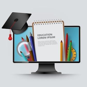 Écran d'ordinateur avec bloc-notes, casquette diplômée, illustration de crayons. copyspace pour le texte, les images et le logo. cours en ligne, école, enseignement collégial et concept de connaissances.