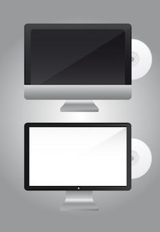 Écran ordinateur avec cd sur gris