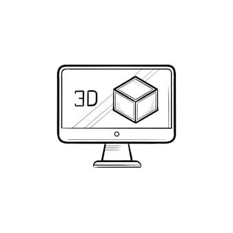 Écran d'ordinateur avec icône de doodle contour dessiné main boîte 3d. concept de technologie en trois dimensions