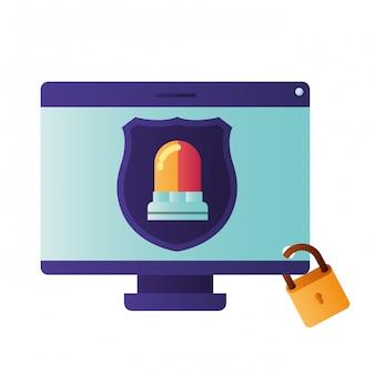 Écran d'ordinateur avec icône isolé bouclier