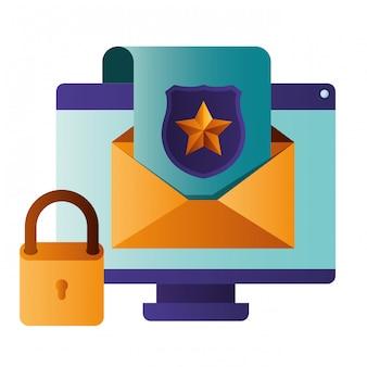 écran d'ordinateur avec icône isolé lettre ouverte