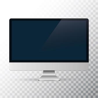 Écran d'ordinateur isolé sur fond transparent.