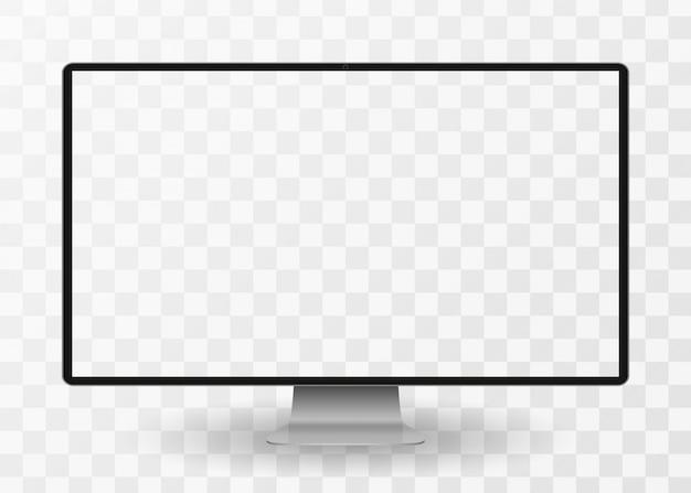 Écran d'ordinateur moderne avec écran blanc isolé sur fond transparent. vue de face.