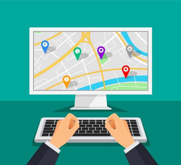 Écran d'ordinateur avec navigation cartographique sur un écran. navigateur gps avec différents points de repère. .