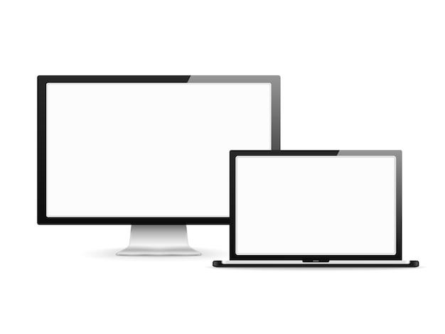 Écran d'ordinateur et ordinateur portable avec des écrans blancs vierges