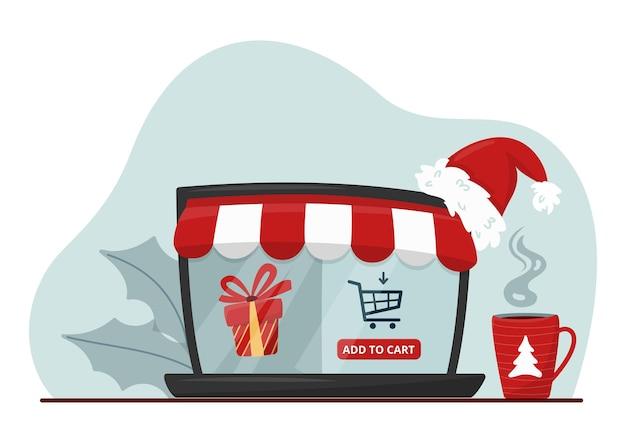Écran d'ordinateur portable montrant la boutique en ligne avec cadeau de vacances