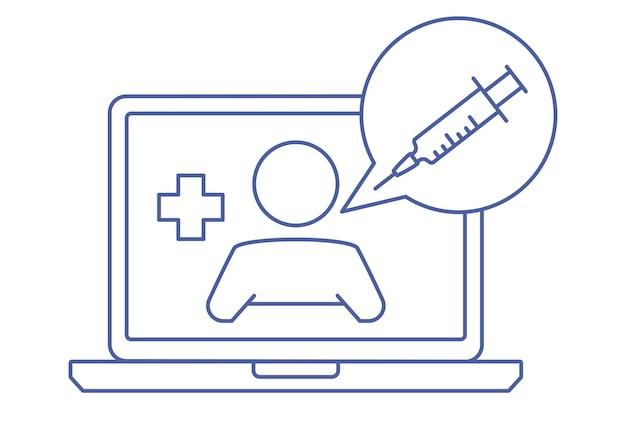 Écran d'ordinateur portable avec thérapeute sur le chat. consultation en ligne avec un médecin. demandez à un médecin. service de conseil ou de consultation médicale en ligne, télémédecine. notion linéaire. trait modifiable