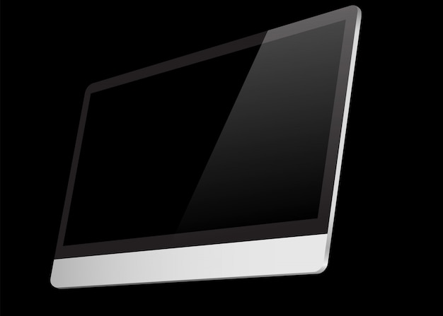 Écran d'ordinateur réaliste noir isolé sur fond noir