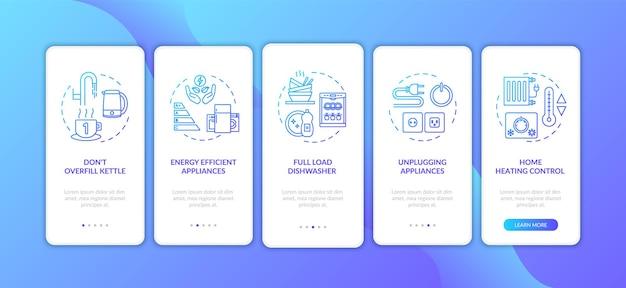 Écran de page d'application mobile de conseils d'économie d'énergie avec des concepts. instructions graphiques en cinq étapes pour la réduction des déchets des ressources ménagères. modèle vectoriel d'interface utilisateur avec illustrations en couleur rvb